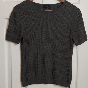 Brooks Brothers 346 Gray Short Sleeve Cable Knit M